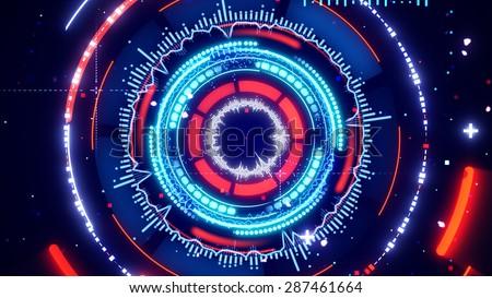 circular spectrum analyzer abstract futuristic illustration  - stock photo