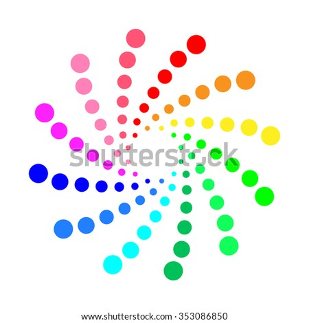 Circular spectrum pattern on white background.