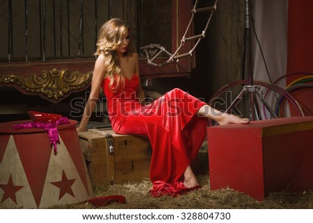 Circus actress. Circus backstage