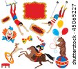 Circus acts clip art party icons isolated on white - stock photo