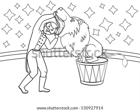 circus animal trainer puts his head in lion mouth coloring book cartoon raster illustration