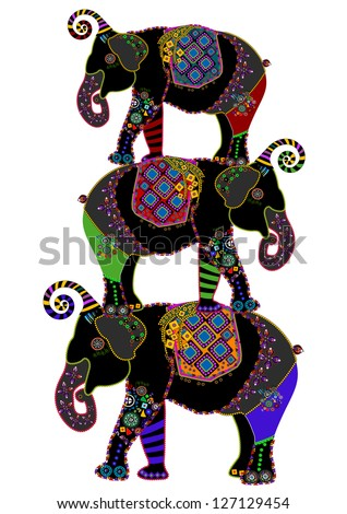 circus elephants in the ethnic style on a white background - stock photo