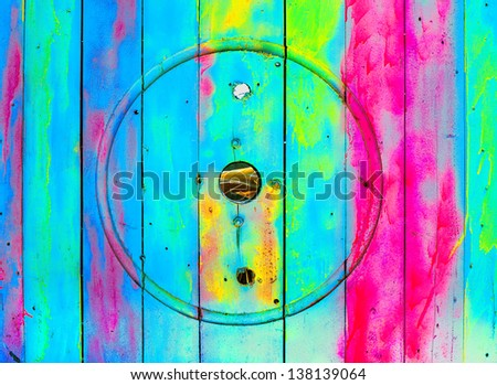 circus painted nandmade wood color background - stock photo