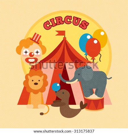 Circus performance poster with tent clown and lion elephant sealion animals flat  illustration