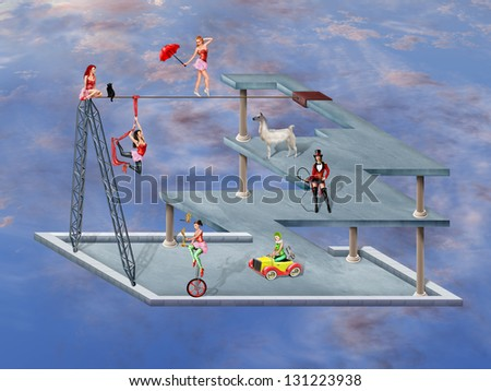 Circus performers in an impossible surreal circus - stock photo