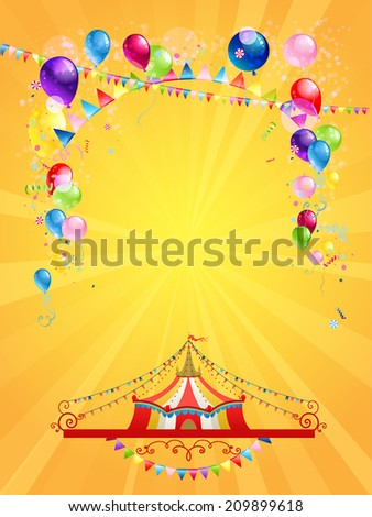 Circus poster on yellow background with copy space. Raster version. - stock photo