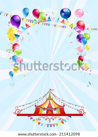 Circus poster with balloons. Raster version. - stock photo
