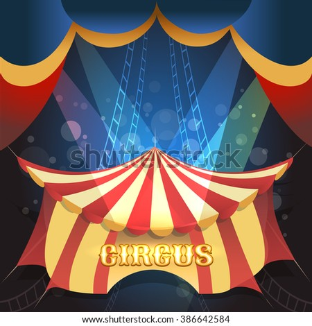 Circus Show illustration with tent and scene lights. Free font used. - stock photo