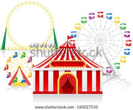 circus tent and attractions illustration isolated on background