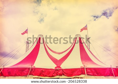 Circus tent and sky - stock photo