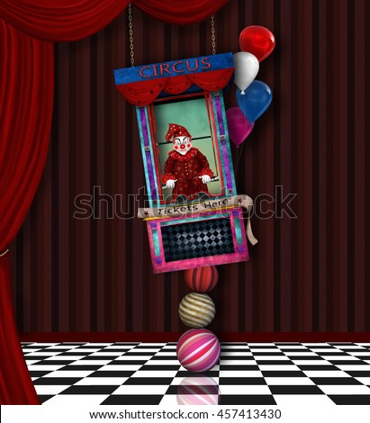 Circus tickets background - 3D and digital painted illustration - stock photo