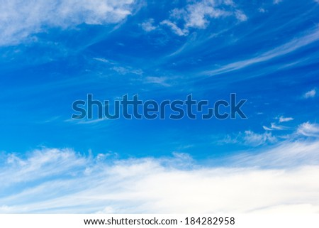Cirrus�ringlets, fibrous clouds, also high level clouds and blue sky