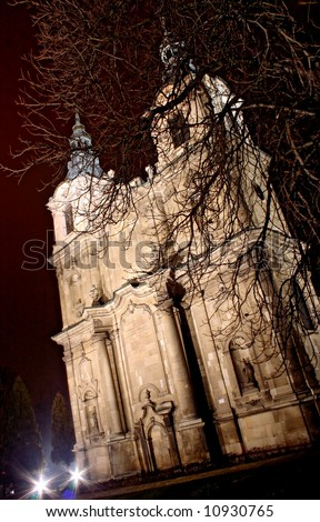 Cistercian church in Poland.Baroque facade. City Jedrzejow near the Cracow. - stock photo