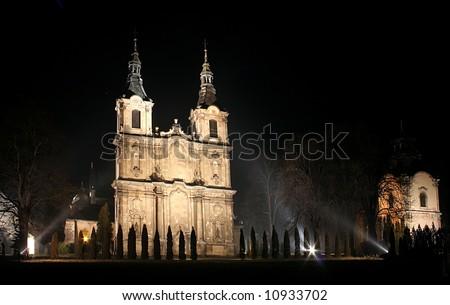 Cistercian church in Poland. Baroque facade. City Jedrzejow near the Krakow. - stock photo