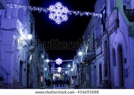 Cisternino in winter during Christmas holyday - stock photo