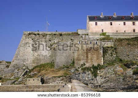 Citadel Vauban at Belle Ile ,viewed side sea, in the Morbihan department in Brittany in north-western France