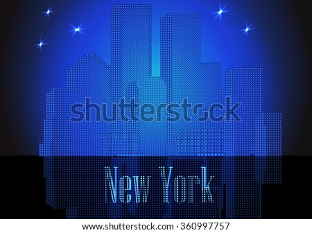 citie glowing silhouette retro New York