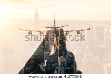 cities, airplane silhouettes, double exposures - stock photo