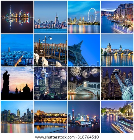 Cities of the word at night, square collage - stock photo