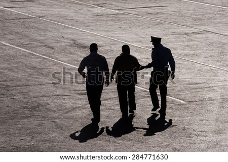 Citizen, arrested by the National Police - stock photo