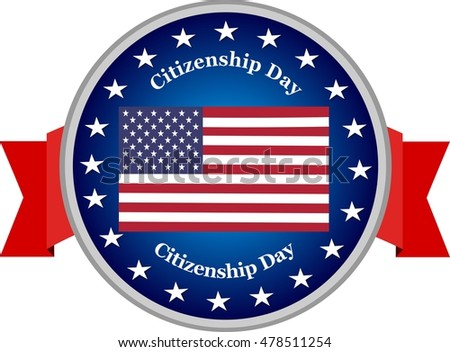 Citizenship Day USA blue and red banner illustration