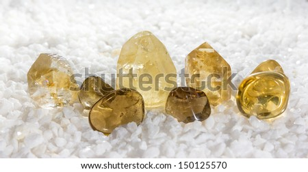 Citrine quartz, or the stone of success, used to aid digestion, as a gemstone in jewellery and is also the birthstone for November - stock photo