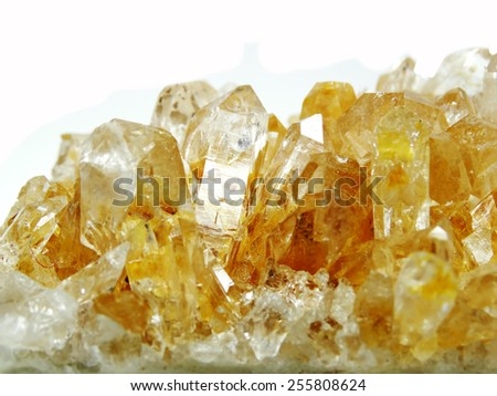 citrine semigem geode crystals geological mineral isolated  - stock photo