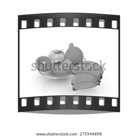 Citrus and apple on a plate on a white background. The film strip - stock photo