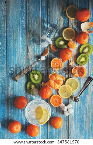 Citrus assorted fruits with refresh drink - stock photo