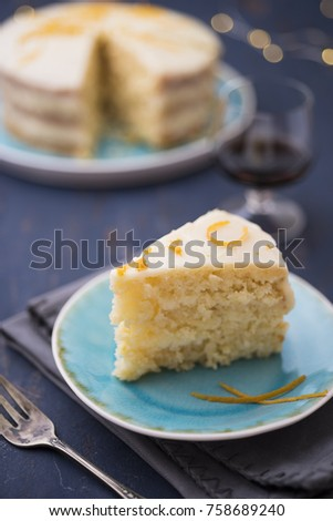 Citrus cake on old wood table