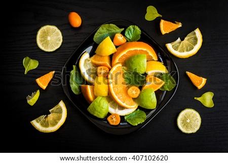 Citrus, citrus salad, citrus fruits, citrus salad top view, citrus salad flat lay - stock photo