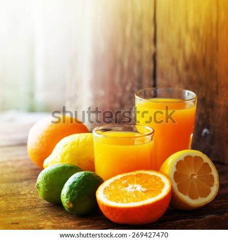 Citrus fruit and juice/ multy fruit juice  - stock photo