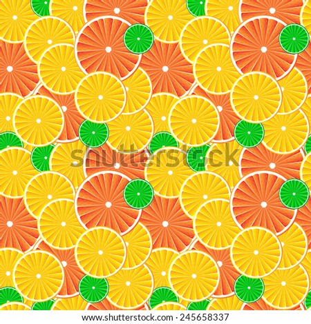 Citrus fruit slices background. Seamless pattern.