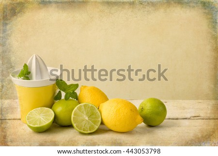 Citrus fruit still life against a grunge textured background