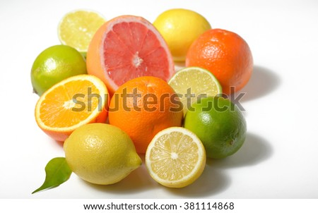 Citrus fruits lemon, lime, grapefruit, orange isolated on white