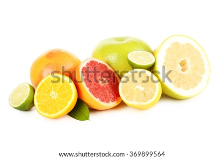 Citrus fruits on a white background - stock photo