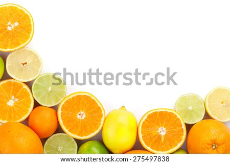 Citrus fruits. Oranges, limes and lemons. Isolated on white background with copy space - stock photo