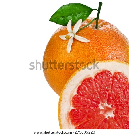 citrus grapefruit slice detail close up isolated on white background - stock photo
