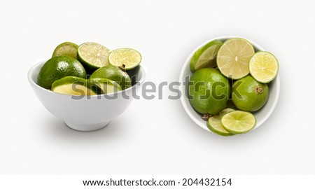 citrus isolated on white background, view from front and top.  - stock photo