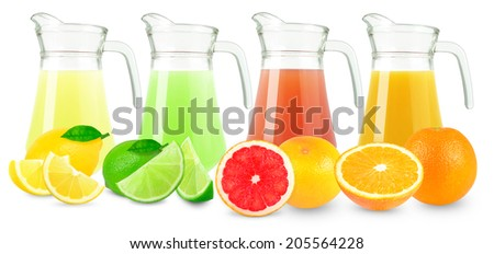 citrus juices in a jug  on white background