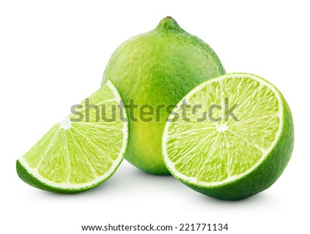 Citrus lime fruit with slice and half isolated on white background with clipping path - stock photo