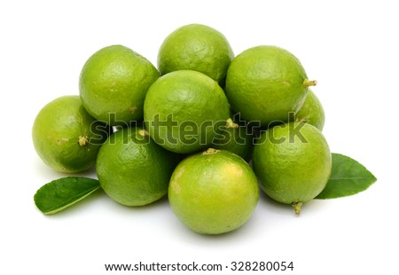 Citrus lime fruits segment isolated on white background