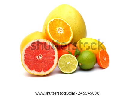Citrus on white background - stock photo