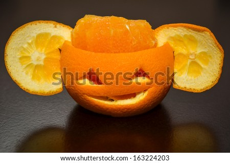 Citrus Orange Fruit Carved As A Pumpkin Face With Ears