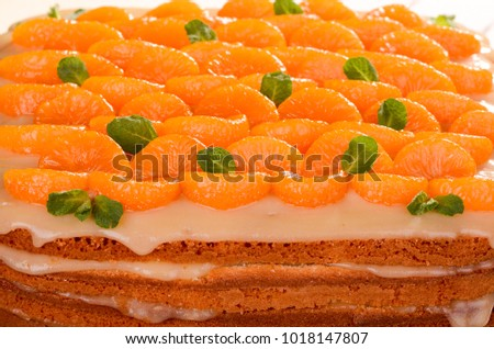 Citrus pie, homemade cakes with mandarin and lemon cream, decorated with mint, close-up
