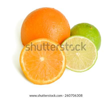 Citrus slices on white background - stock photo