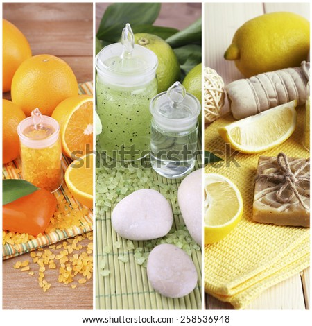 Citrus spa compositions in collage - stock photo