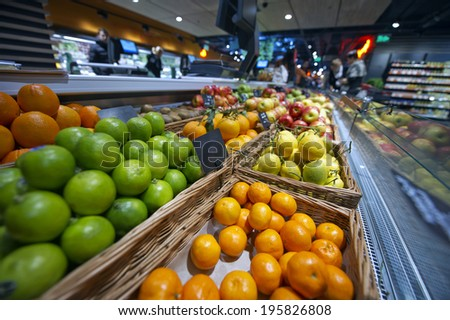 citrus tangerines, lemons, limes and oranges at the market and supermarket - stock photo