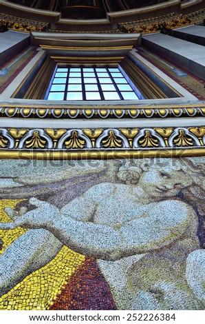 CITTA' DEL VATICANO - JANUARY 4 - Detail of the mosaics of the Dome in St Peter Basilica-  Citta del Vaticano Jan 4 2015 - stock photo