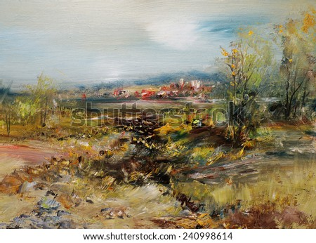 City across the lake, oil painting artistic background                                - stock photo